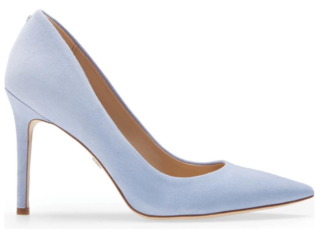 Sam Edelman, blue pumps, pointed toe pumps, velvet pumps, stiletto heels