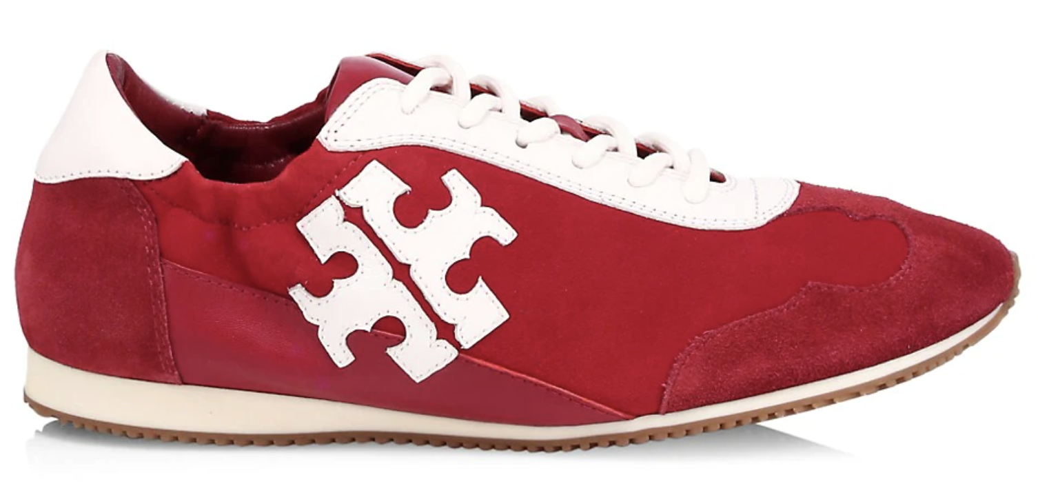 Tory Burch, sneakers, red sneakers, low top sneakers, suede sneakers