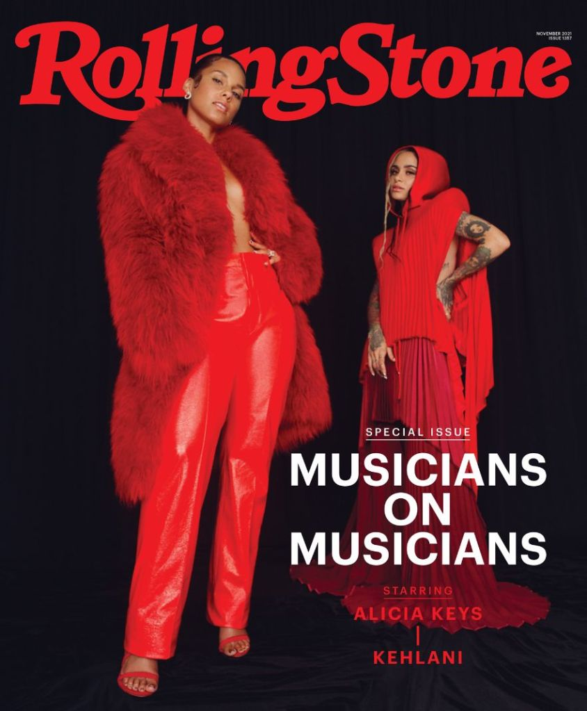 alicia keys, red pants, jacket, coat, heels, sandals, rolling stone, kehlani, cover