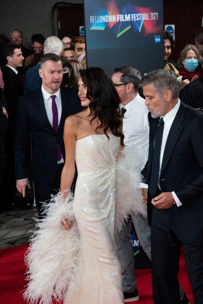 amal clooney, gown, dress, strapless dress, sequins, white heels, pumps, red carpet, tender bar, george cllooney, movie