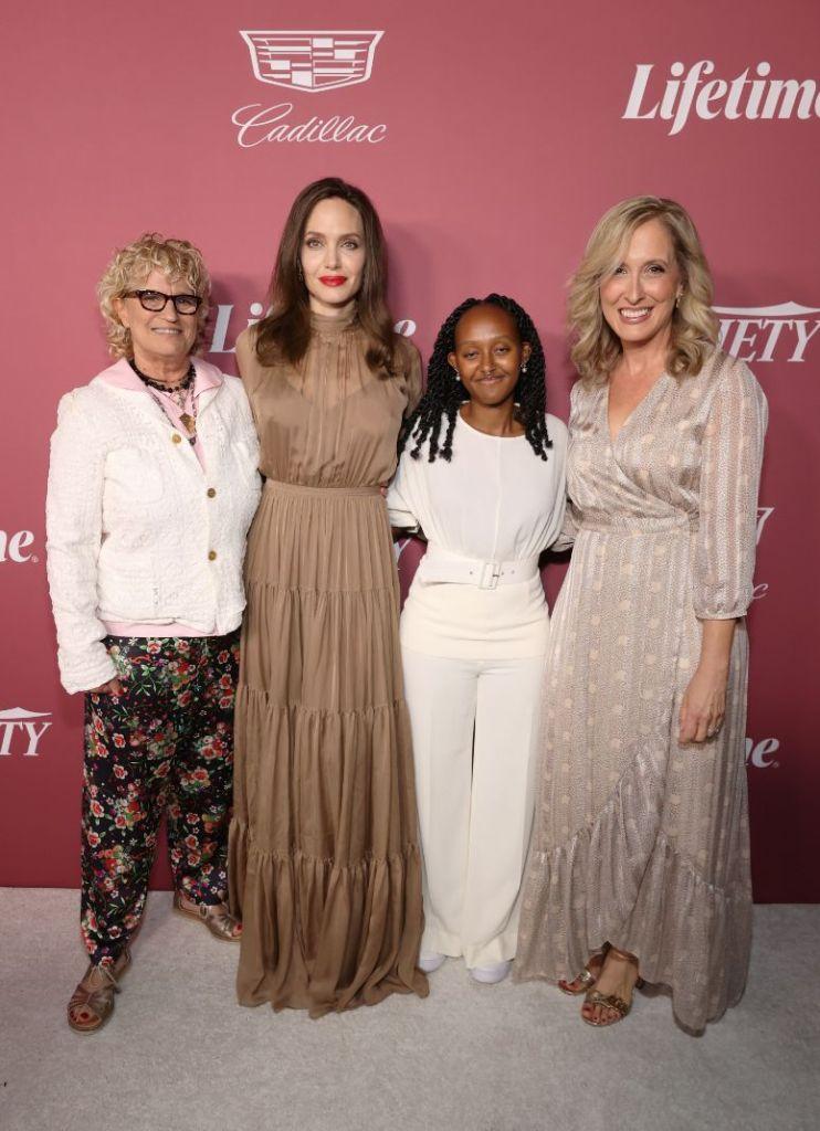 angelina jolie, dress, gown, brown dress, skirt, heels, daughters, variety, power of women