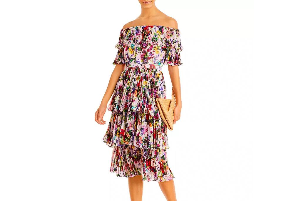 floral dress, off-the-shoulder, aqua