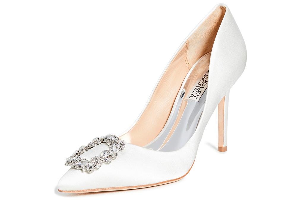 white pumps, crystal, heels, badgley mischka