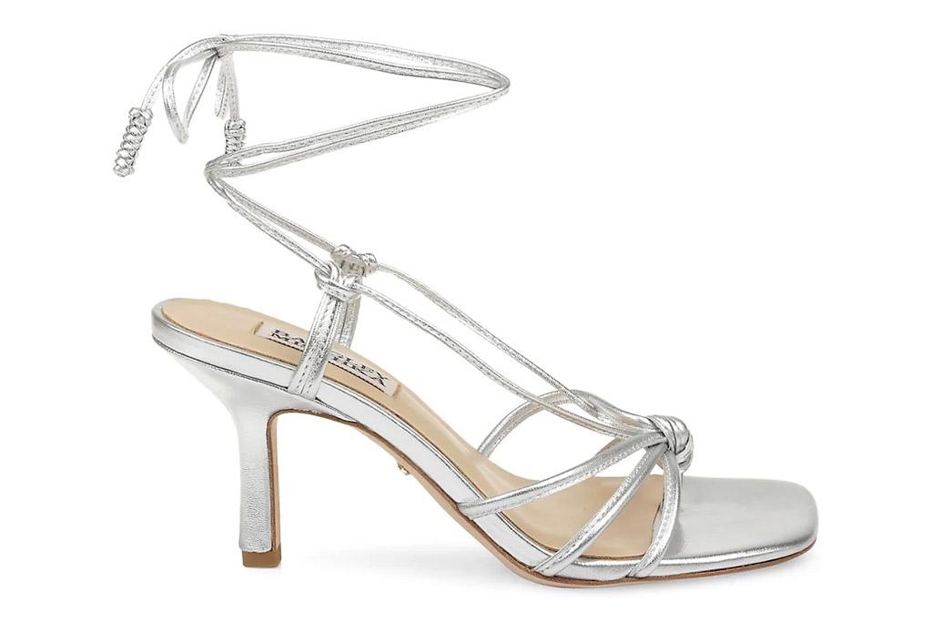 silver sandals, heels, badgley mishcka
