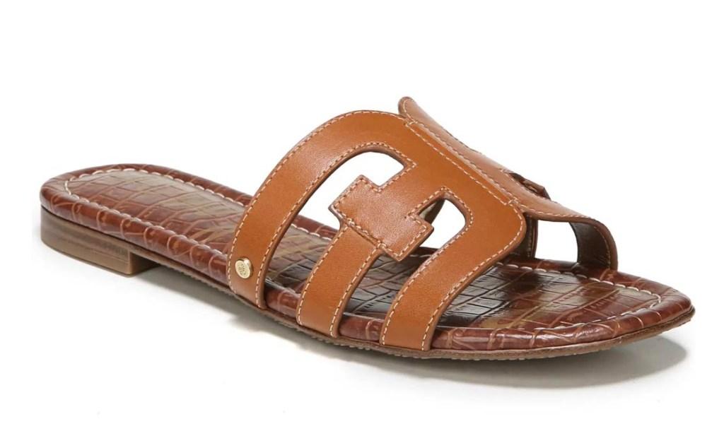 bay cutout slide sandals tan