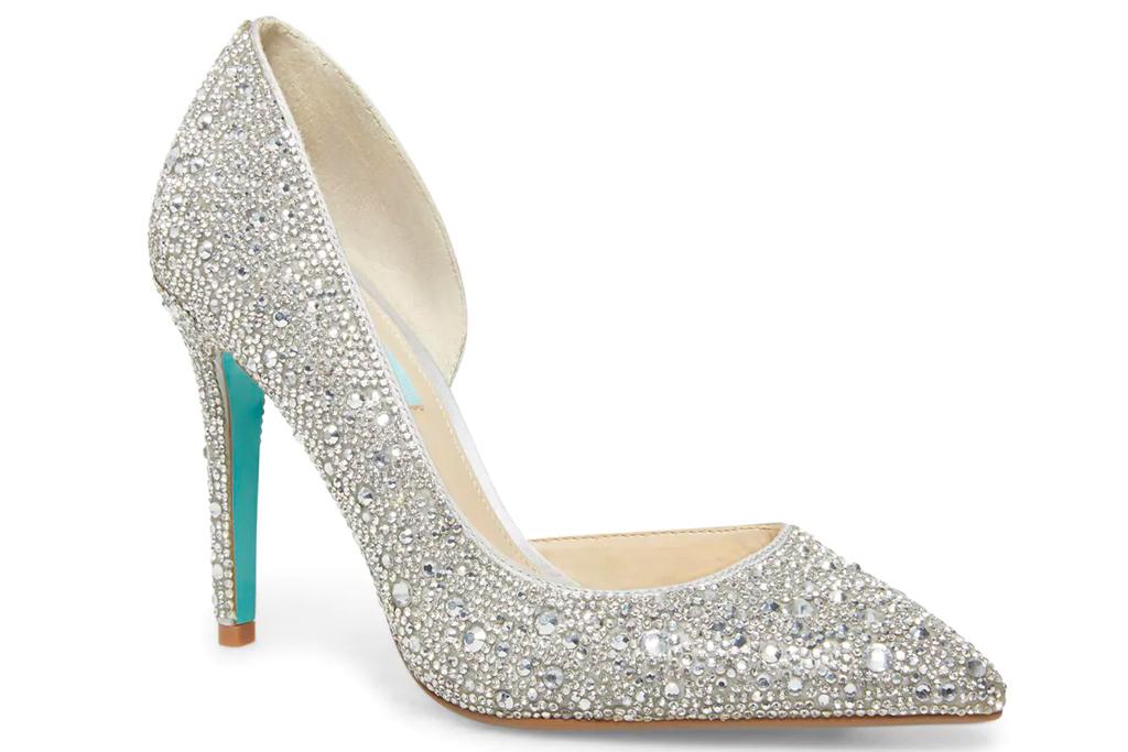 crystal heels, pumps, betsey johnson