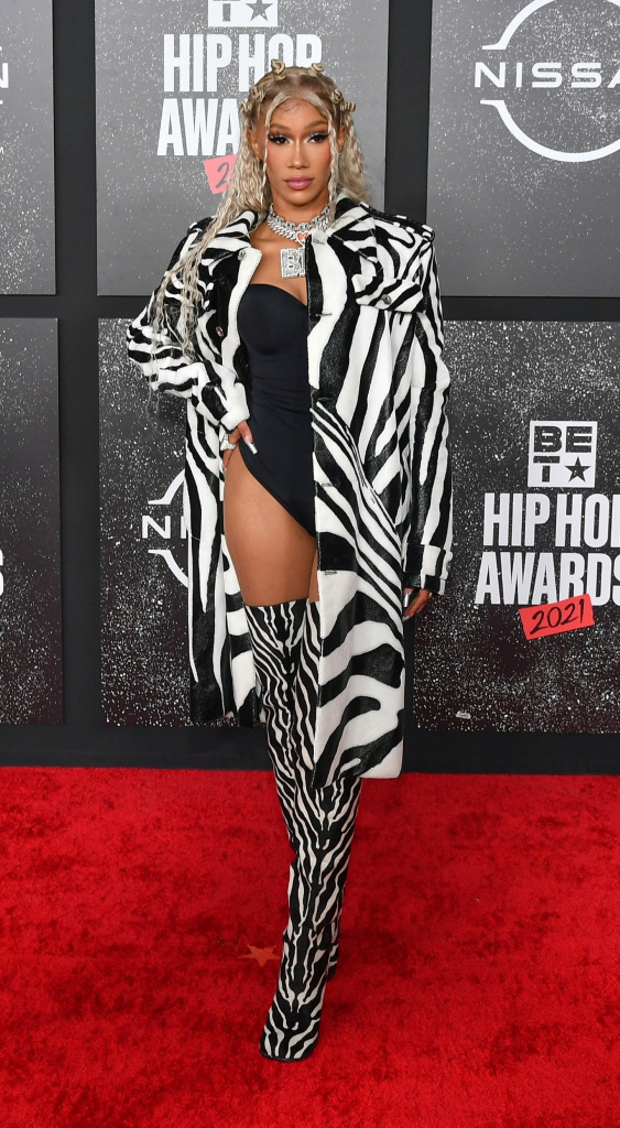 ATLANTA, GEORGIA - OCTOBER 01: BIA attends the 2021 BET Hip Hop Awards at Cobb Energy Performing Arts Center on October 01, 2021 in Atlanta, Georgia. (Photo by Paras Griffin/Getty Images for BET)