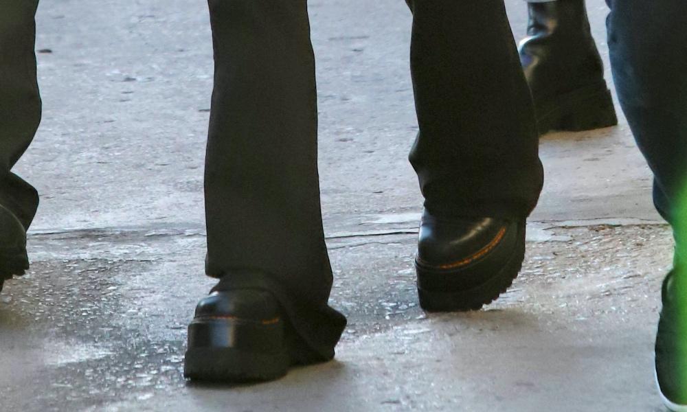 Billie Eilish, platform boots, dr martens, chelsea boot, la, jimmy kimmel, anime sweater, flare pants