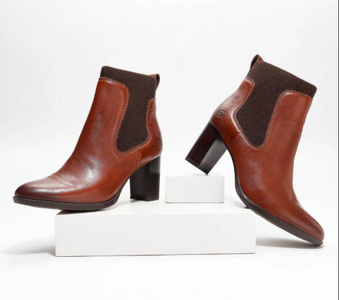 Born Donella Knit and Leather Ankle Bootie
