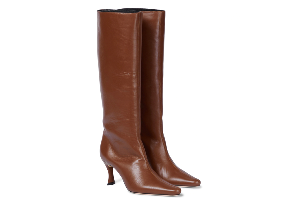 brown boots, heeled, slouchy, leather, by far