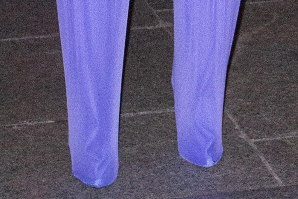 cardi b, purple catsuit, hat, sunglasses, heels, boots, rick owens, gloves, hotel, paris, paris fashion week