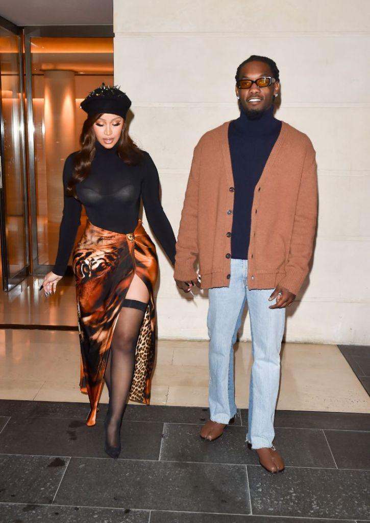 cardi b, sheer shirt, skirt, stockings, thigh-high stockings, hat, beret, offset, paris