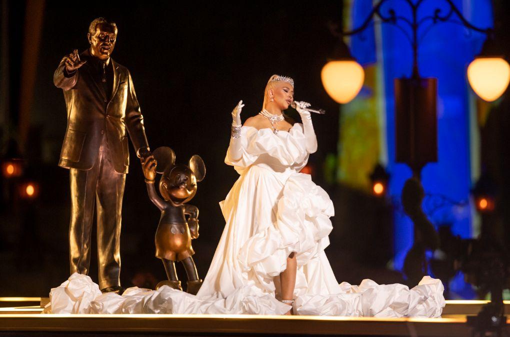 christina aguilera, gown, princess gown, white dress, wedding dress, heels, cinderella, tiara, disney, disney world