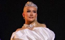 christina aguilera, gown, princess gown, white