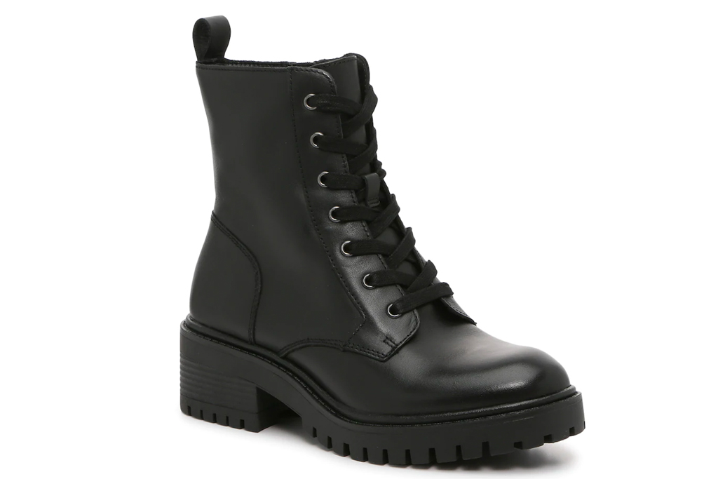 combat boots, black leather, crown vintage