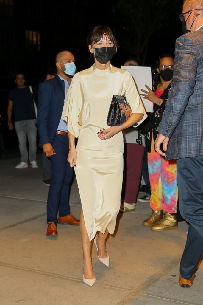 dakota johnson, silk dress, dress, heels, pumps, sva theatre, new york, film festival, ny