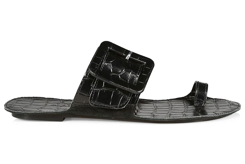black sandals, big toe, definery