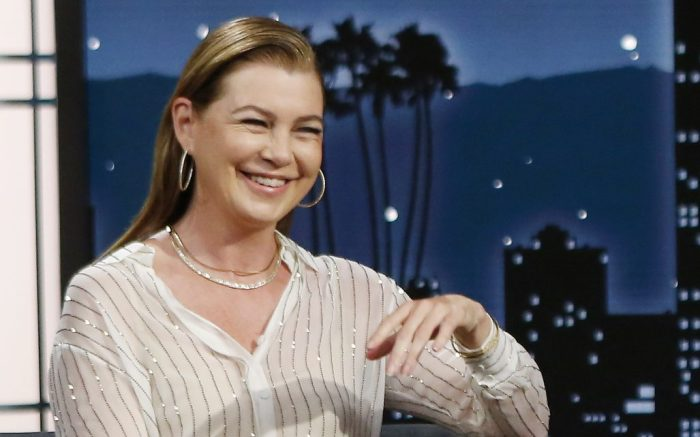 """Ellen Pompeo Alexandre Vauthier white pinstripe outfit, glitter, alevi milano toni pumps, JIMMY KIMMEL LIVE! - """"Jimmy Kimmel Live!"""" airs every weeknight at 11:35 p.m. EST and features a diverse lineup of guests that include celebrities, athletes, musical acts, comedians and human interest subjects, along with comedy bits and a house band. The guests for Thursday, October 7 included Ellen Pompeo (""""Grey's Anatomy""""), Henry Winkler (""""The French Dispatch""""), and musical guest Billy Idol. (ABC/Randy Holmes)ELLEN POMPEO, JIMMY KIMMEL"""