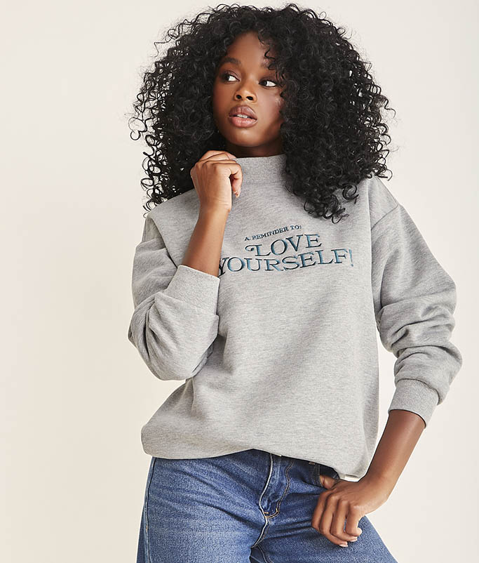 forever 21, stand up to cancer, breast cancer awareness month sweater