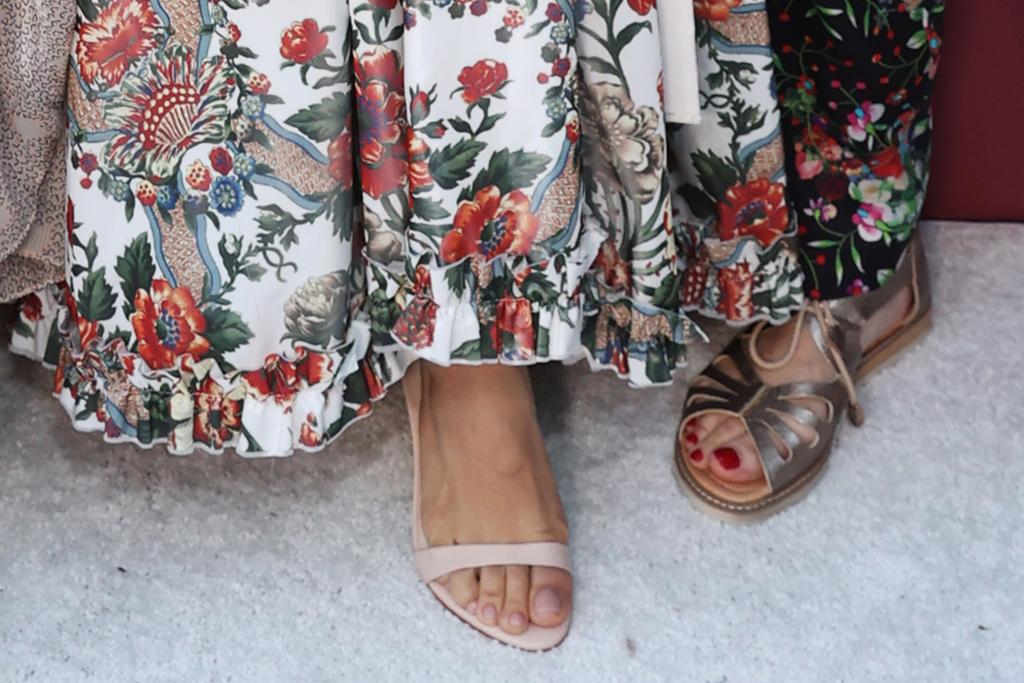 jenna dewan, floral dress, gown, bustier, heels, sandals, variety power of women, la