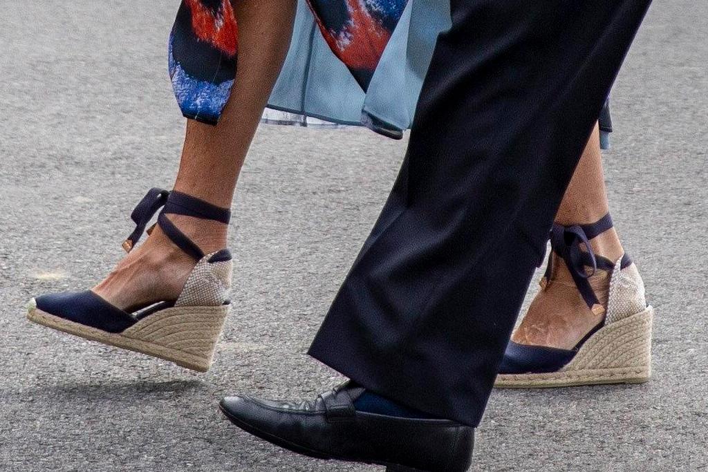 jill biden, floral dress, jacket, wedges, wedge sandals, espadrilles, shoes, white house, joe biden, delaware