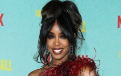 kelly rowland, gown, feather dress, red