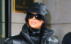 kim kardashian, puffer, coat, leather pants,