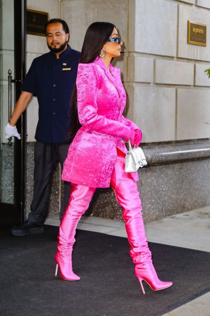 kim kardashian, pink blazer, hot pink, heels, boots, thigh-high boots, jacket, new york, hotel, snl