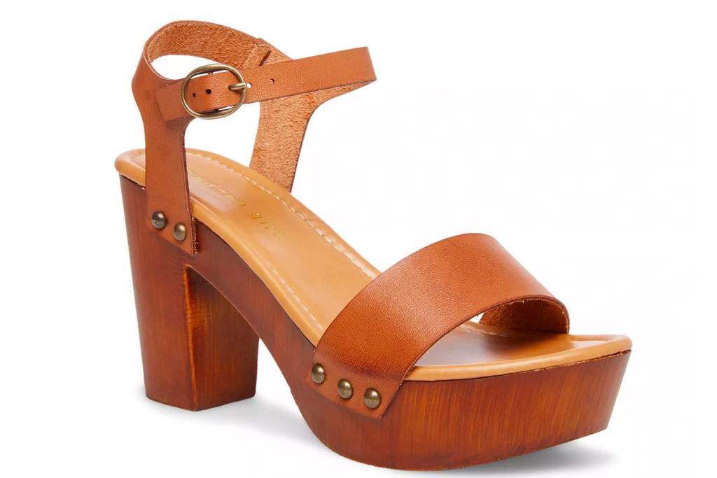 brown platform sandals, wood, block, madden girl