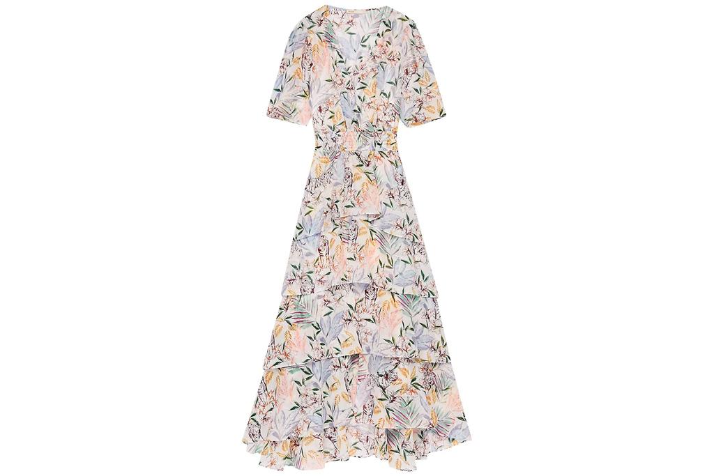 floral dress, off-the-shoulder, maje