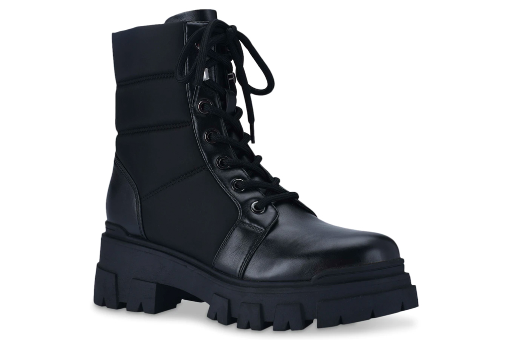combat boots, black leather, marc fisher