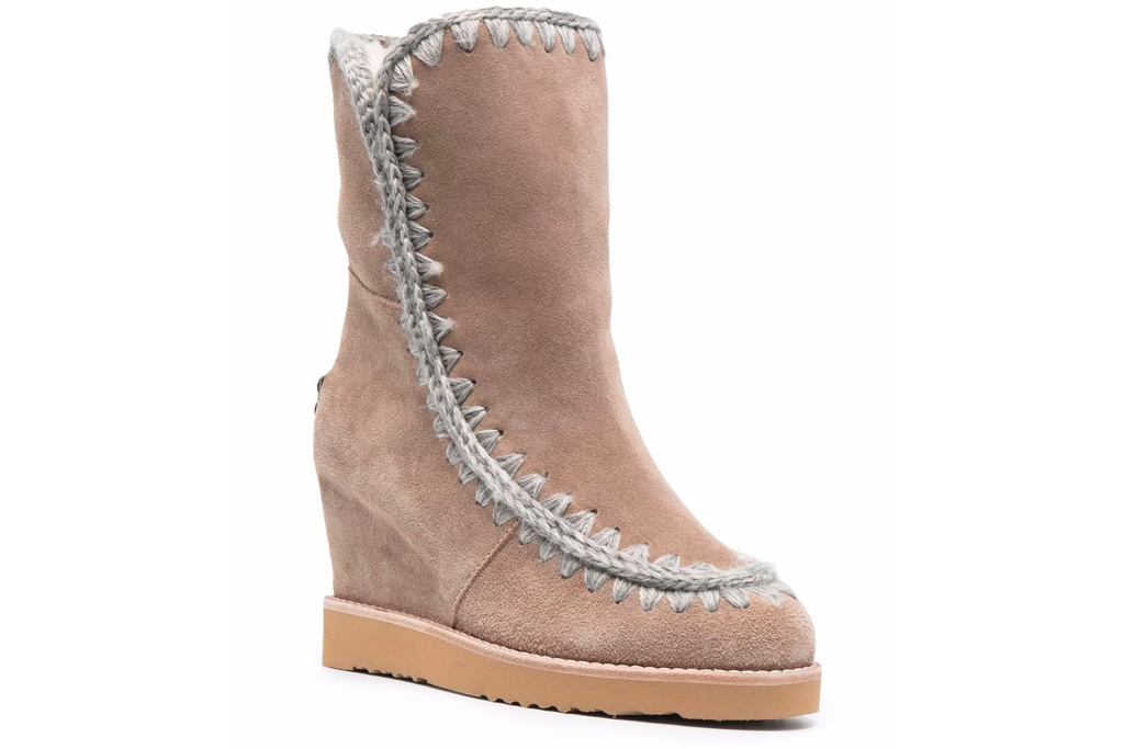 wedge boots, booties, shearling, mou