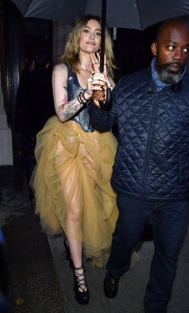 paris jackson, leather corset, sheer skirt, skirt, heels, platforms, paris, fashion week