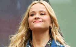 reese witherspoon, skirt, blouse, jean jacket,