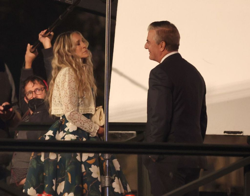 sarah jessica parker, floral dress, jacket, lace cardigan, heels, mr big, chris noth, paris, and just like that