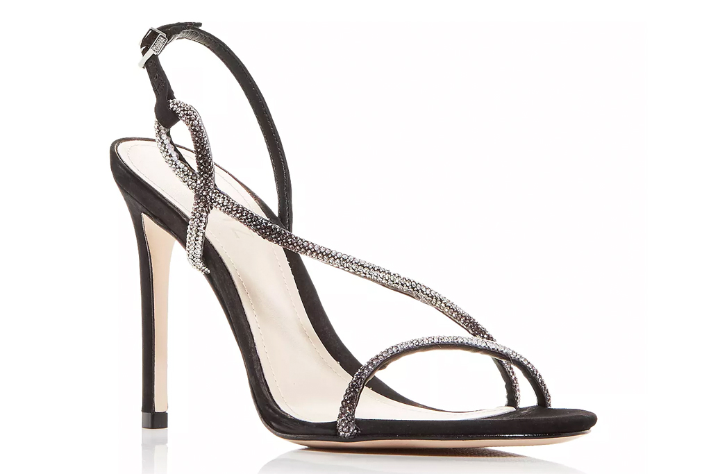 glittering sandals, black heels, schutz