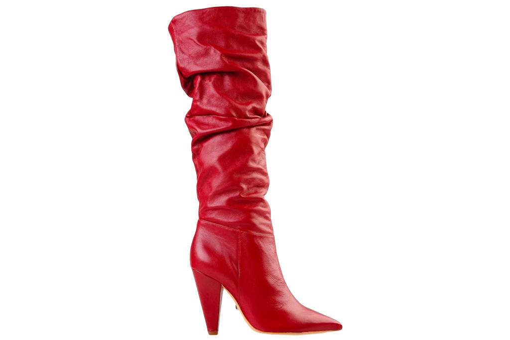 red boots, thigh-high, knee high, schutz