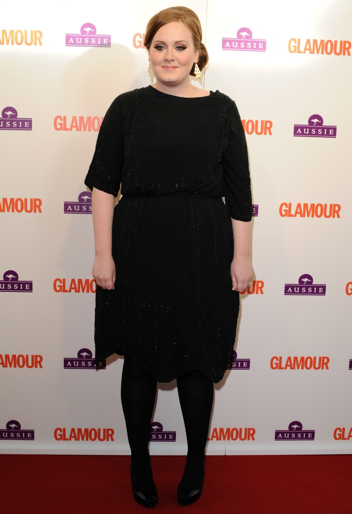 Adele, Christian Louboutin, black pumps, peep-toe pumps, Glamour Women of the Year Awards, style, style evolution, red carpet