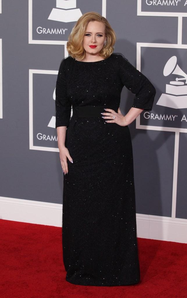 Adele, Giorgio Armani, black dress, sparkly dress, long-sleeved dress, Grammy Awards, style, style evolution, red carpet