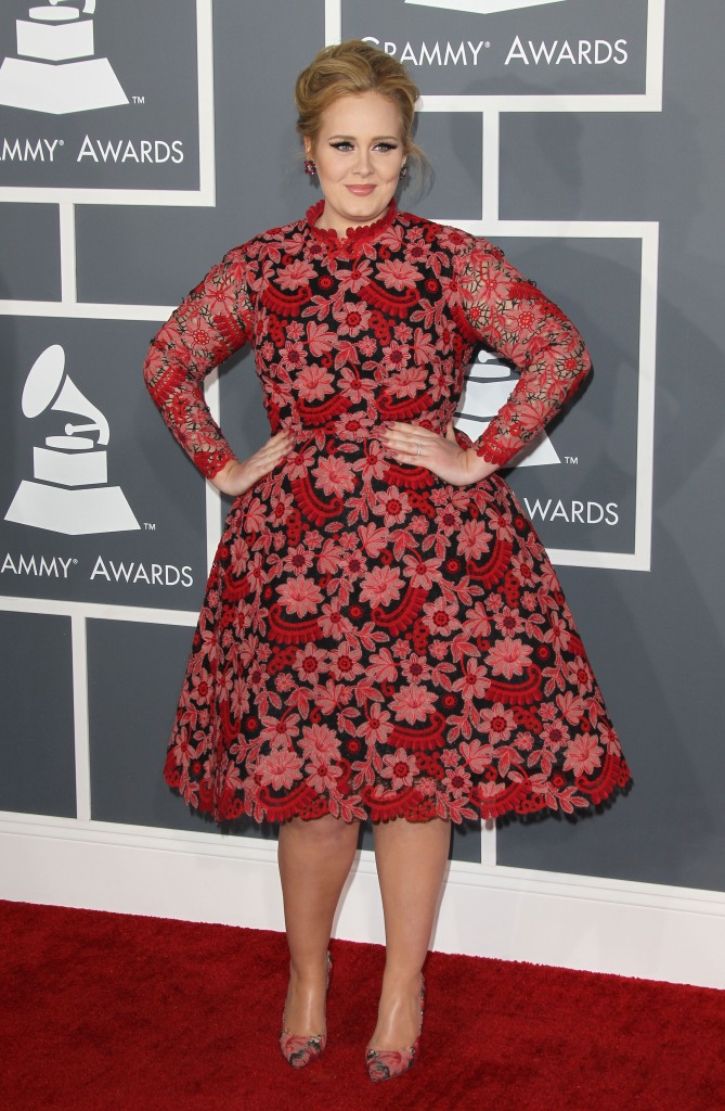 Adele, Valentino, pointed-toe pumps, floral pumps, red dress, floral dress, long-sleeved dress, Grammy Awards, style, style evolution, red carpet