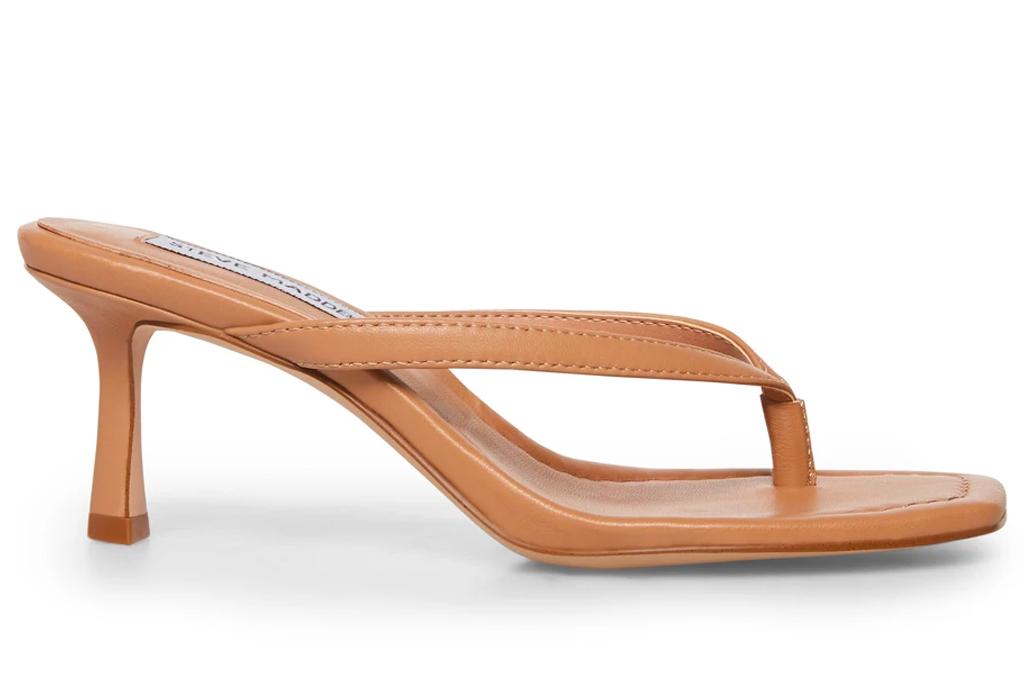 thong sandals, heels, tan, steve madden