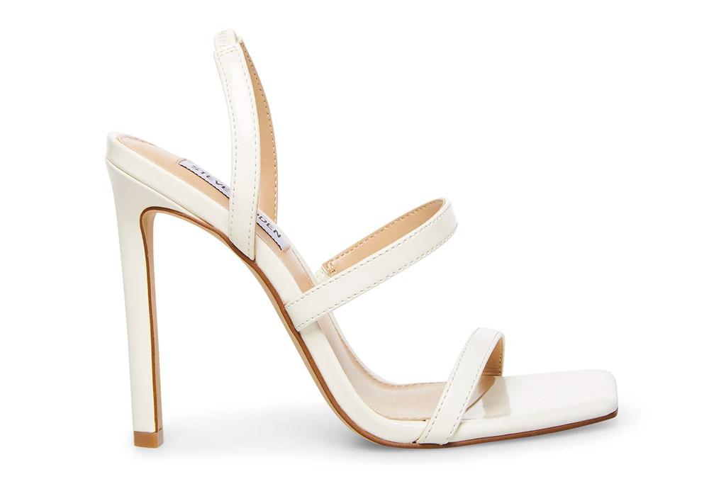 white sandals, heels, steve madden