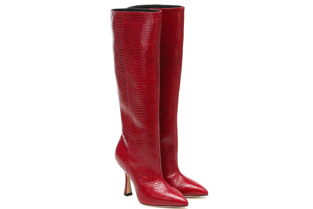 red boots, thigh-high, knee high, stuart weitzman
