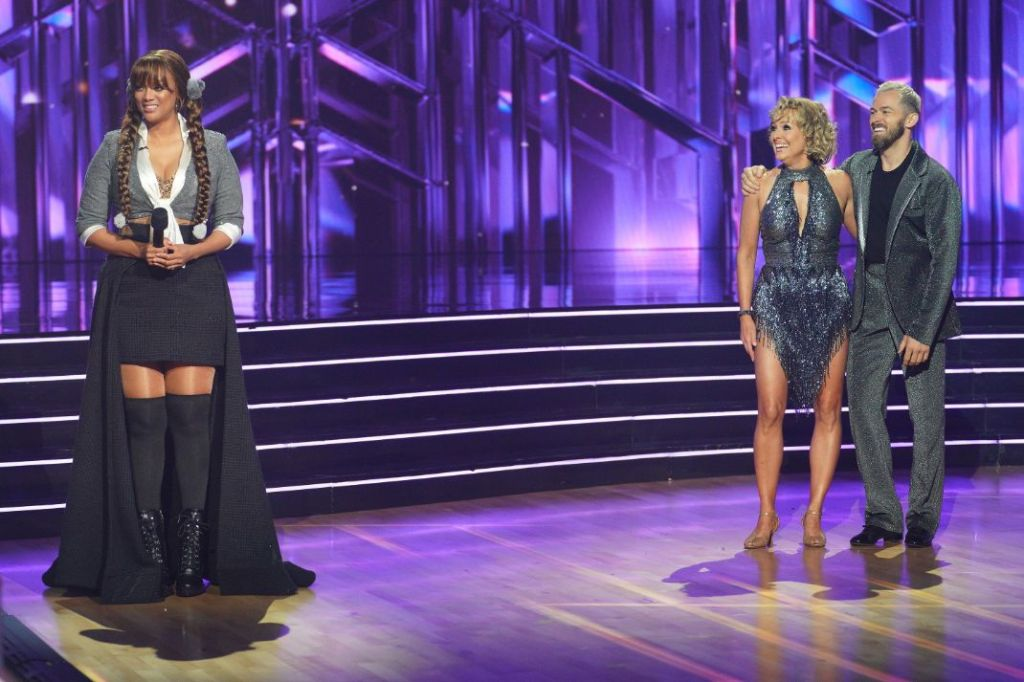 tyra banks, skirt, shirt, britney spears, boots, coat, dancing with the stars, host