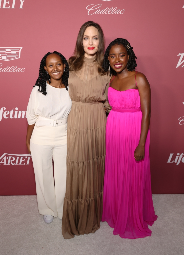 BEVERLY HILLS, CALIFORNIA - SEPTEMBER 30: (L-R) Zahara Jolie-Pitt, Angelina Jolie, and Amanda Gorman attend Variety's Power of Women Presented by Lifetime at Wallis Annenberg Center for the Performing Arts on September 30, 2021 in Beverly Hills, California. (Photo by Emma McIntyre/Getty Images for Variety)