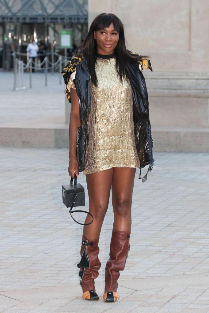 venus williams, minidress, gold dress, puffer vest, boots, louis vuitton, paris fashion week, france, runway