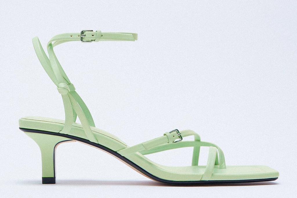 green heels, sandals, zara