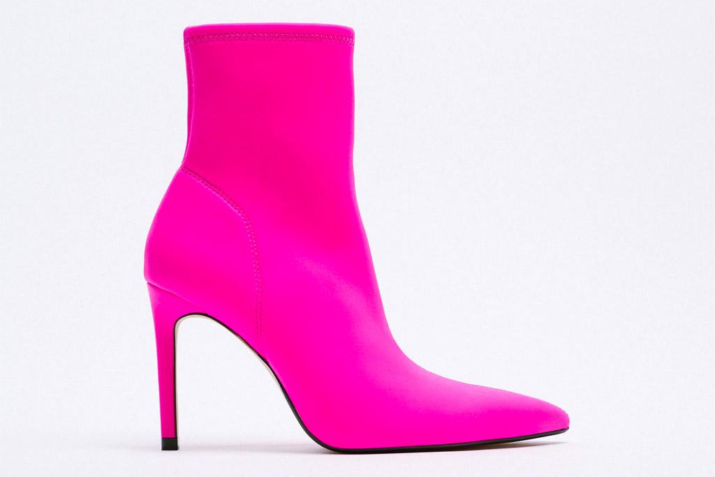 hot pink boots, zara