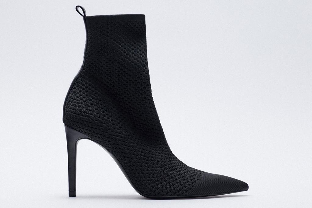 sock boots, black, heel, zara