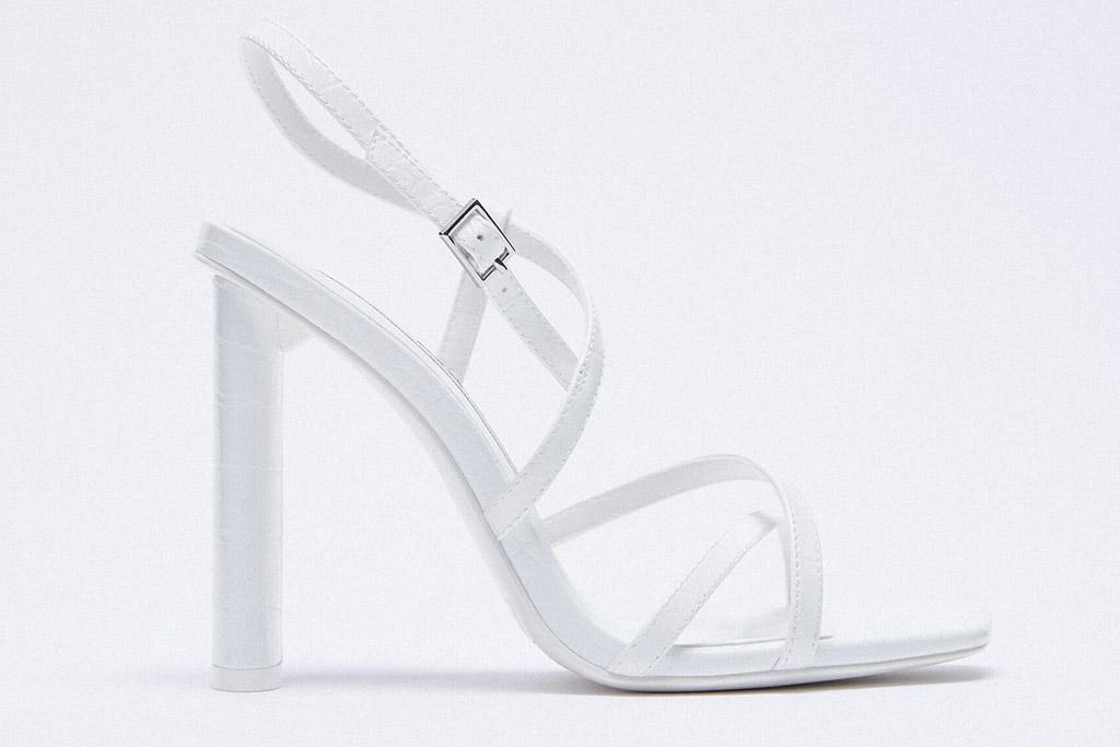 white sandals, heels, zara